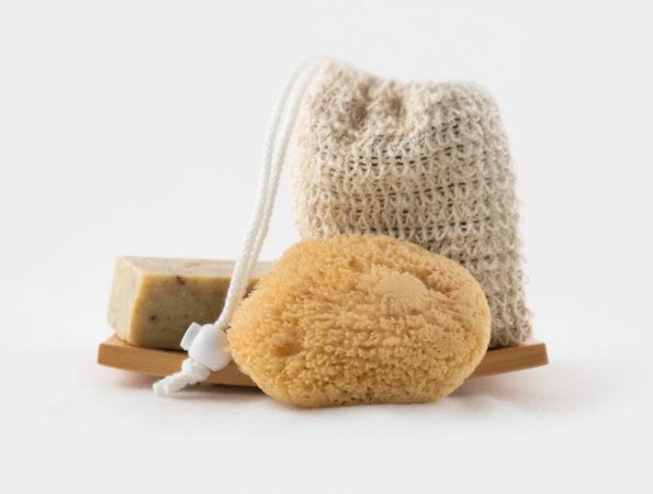 Soap Bag, Wood Dish, and Sponge